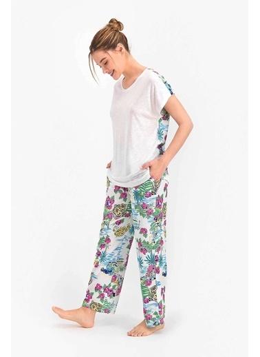 Arnetta Stay Wild Krem Kadın Kısa Kol Pijama Takımı Krem